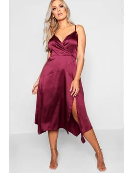 Plus Wrap Strappy High Split Satin Midi by Boohoo