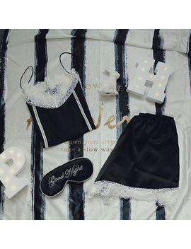 Ifish House   Pajama Set : Lace Panel Spaghetti Strap Top + Shorts by Ifish House