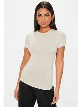 Nude Crew Neck Fitted T Shirt by Missguided