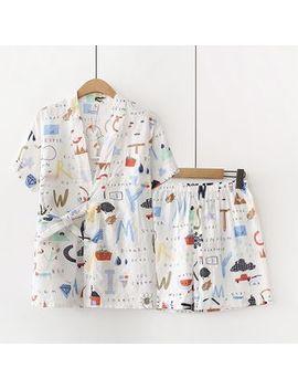 Vateddy   Pajama Set: Printed Short Sleeve Top + Shorts by Vateddy