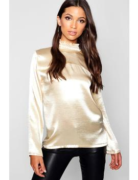 Hammered Satin Shirred High Collar Top by Boohoo
