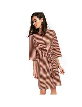Wallis   Rust Stripe Knot Front Shift Dress by Wallis