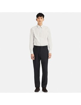 Men Uniqlo U Wool Blended Wide Fit Tapered Trousers by Uniqlo