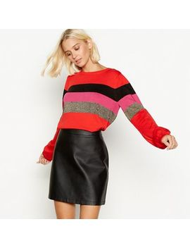 Red Herring   Orange Sparkle Stripe Balloon Sleeve Jumper by Red Herring