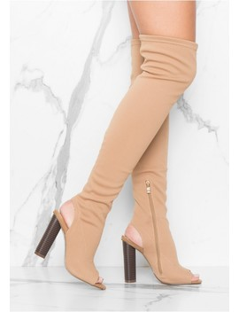 Deana Nude Cut Out Over Knee Boots by Missy Empire