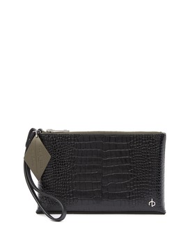 Croc Embossed Leather Wristlet Pouch by Rag & Bone
