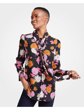 Autumnal Floral Tie Neck Blouse by Ann Taylor