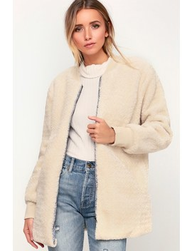 Warm Your Heart Cream Faux Fur Bomber Jacket by Lulus