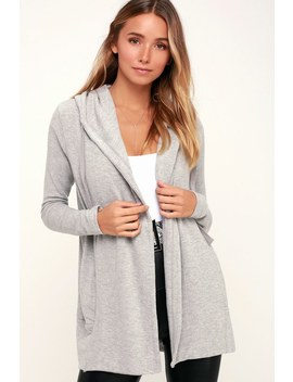 Soft Spun Heather Grey Hooded Cardigan Sweater by Z Supply