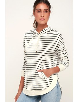 Dakota Ivory Striped Pull Over Hoodie by Z Supply