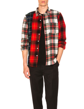 Mixed Tartan Button Down by Stussy