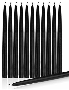 "Higlow Dripless Taper Candles 8"" Inch Tall Wedding Dinner Candle Set Of 12 (Black) by Higlow"