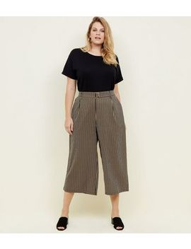 Curves Black Stripe Twill Belted Culottes by New Look