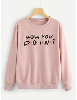 Letter Print Round Neck Sweatshirt by Romwe