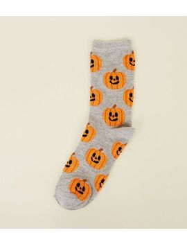 Grey Glitter Pumpkin Pattern Socks by New Look