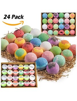 Gift Set Of 24 Nurture Me Organic Bath Bombs, Large Bath Fizzies All Natural With Organic Shea & Cocoa Butter by Nurture Me Organics
