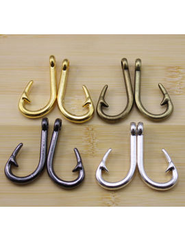 6/20/60 Pcs Retro Style  Alloy  Fish Hook Charm Pendant 38x20 Mm by Unbranded