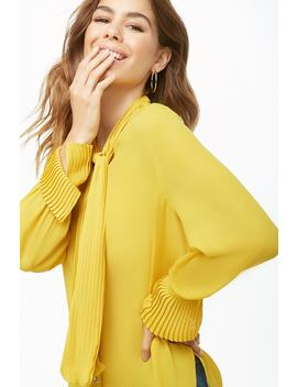 Sheer Pleated Trim Top by Forever 21