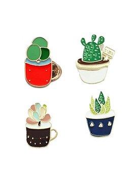 Dragon Fashion Enamel Lapel Pin Set Green Plant Succulent Cactus Aloe Flower Trendy Pins Badges For Clothes Bags by Dragon Fashion