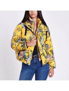 Yellow Floral Layer Hooded Puffer Jacket by River Island
