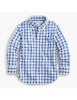 Boys' Secret Wash Shirt In Windowpane Plaid by J.Crew