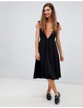 Monki V Neck Midi Pinny Dress In Black by Monki