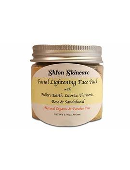 Natural Organic Facial Lightening, Whitening Face Mask With Fuller's Earth, Licorice, Turmeric, Rose & Sandalwood   1.7 Oz,, Made In Usa by Shfon Skincare