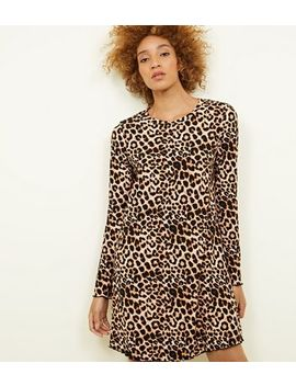 Brown Leopard Print Soft Touch Swing Dress by New Look