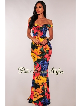 Multi Color Floral Print Ruched Off Shoulder Maxi Dress by Hot Miami Style