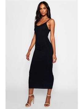Tall Strappy Rib Bodycon Midi Dress by Boohoo