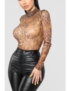 Fierce And Fab Bodysuit   Brown/Combo by Fashion Nova