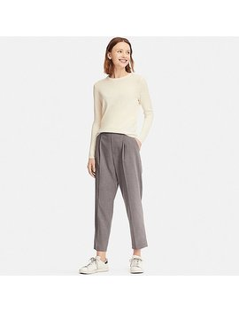 Women Ezy Tucked Ankle Length Trousers by Uniqlo