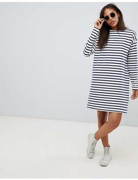 Asos Design Tall Sweat Dress In Stripe With Long Sleeves by Asos Design