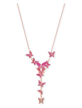 """Rose Gold Tone Butterfly 14 7/8"""" Y Necklace by Swarovski"""