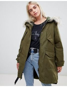 Asos Design Oversized Parka With Quilted Liner by Asos Design