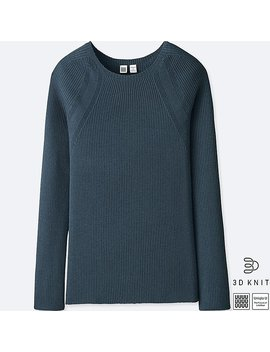 Women Uniqlo U 3 D Extra Fine Merino Ribbed Crew Neck Sweater by Uniqlo