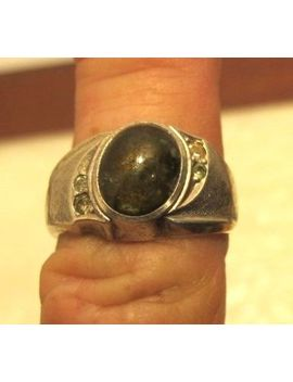 Vtg C&C Sterling Silver Ring W Mood Stone & Zircon Accents Sz 8.5 by C&C