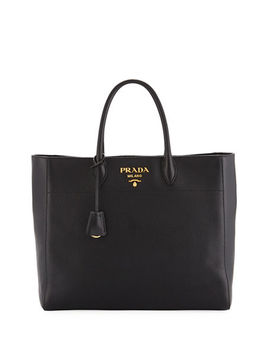 Large Daino Leather Tote Bag by Prada