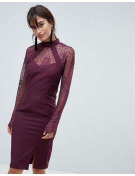 Little Mistress Long Sleeve High Neck Lace Dress by Little Mistress