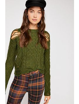 Jolene Destroyed Cable Sweater by Free People