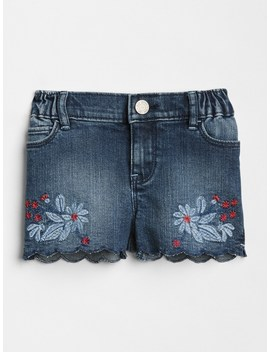 Embroidery Scalloped Denim Shorts by Gap