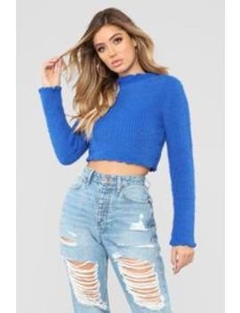 Logan Fuzzy Sweater   Blue by Fashion Nova