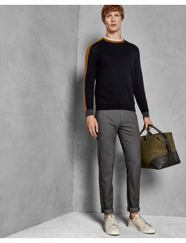 Slim Fit Textured Trousers by Ted Baker