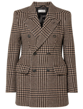 Hourglass Houndstooth Wool Blazer by Balenciaga