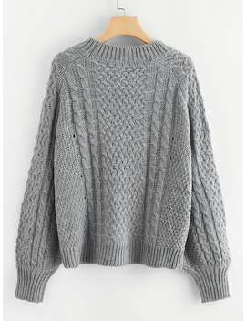 Raglan Sleeve Eyelet Detail Mixed Knit Jumper by Shein