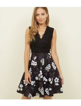 Mela Black Floral Lace Bodice Skater Dress by New Look
