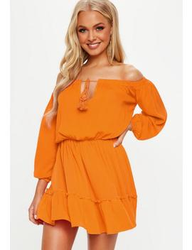 Orange Bardot Tassel Skater Dress by Missguided
