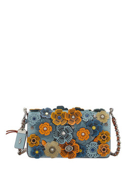 Dinky Tea Rose Crossbody Bag, Blue/Multi by Neiman Marcus