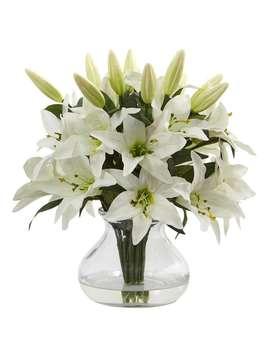 Nearly Natural White Faux Lily Arrangement With Clear Glass Vase by Nearly Natural