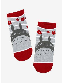 Studio Ghibli My Neighbor Totoro Grey &Amp; White Stripe No Show Socks by Hot Topic